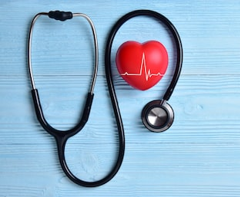 Use of hemp seeds for a healthy heart - stethoscope and heart