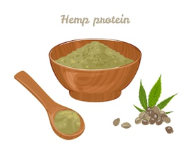 Hemp protein in wooden bowl, spoon with powder and seed isolated on white background. Vector illustration of a healthy food in cartoon flat style.